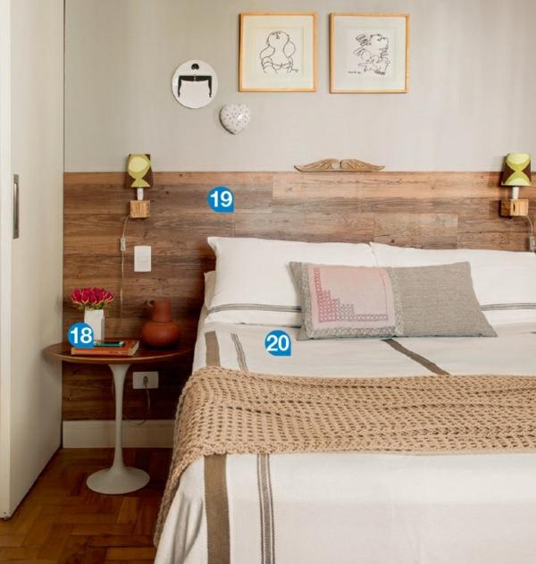 Einrichtungsideen Wohnideen Schlafzimmer Möbel Bett Kopfteil Holz  Nachttisch Einrichtungsideen, Wie Man Eine Kleine Wohnung ...