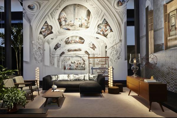 Eklektische Möbel Schaffen Einen Wow Effekt. Einrichtungsideen Wohnzimmer  Dekorative Decke
