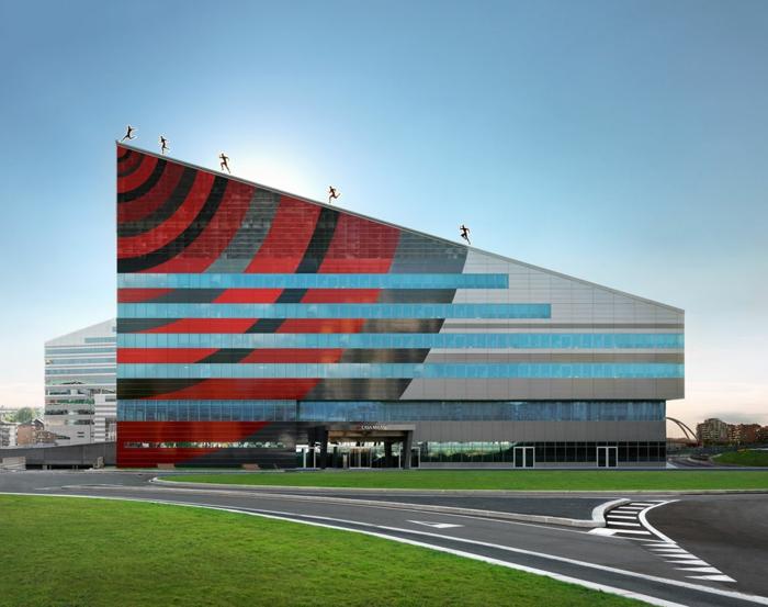 fabio novembre moderne architektur gebäude rot schwarz casa milan fußball museum mailand