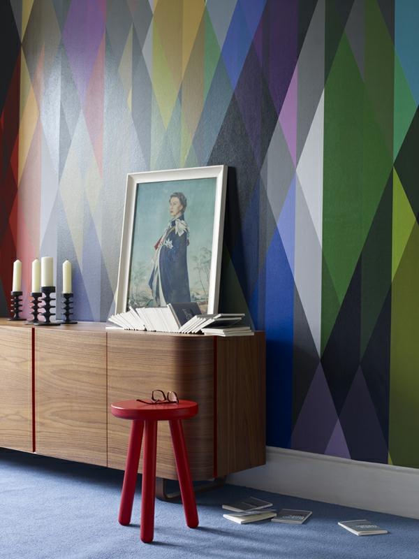farbgestaltung wohnung geometrische muster