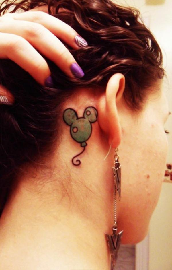 frauen tattoo hinterm ohr süß