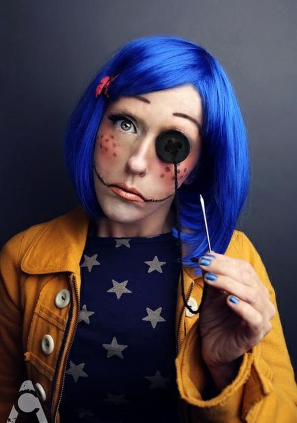 halloween kostüme blaue perücke