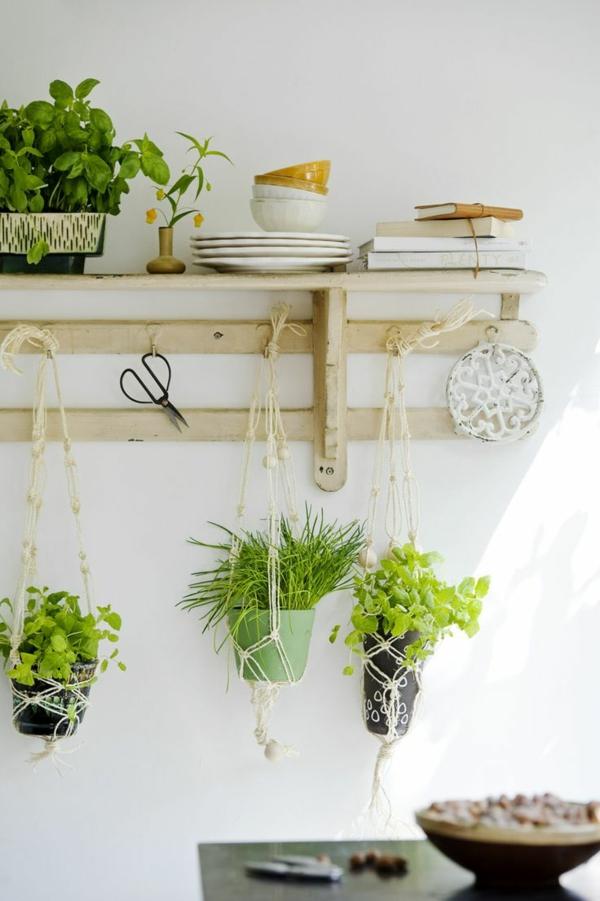 hängende zimmerpflanzen deko ideen gewürzen holzregal haken topfpflanzen hängend