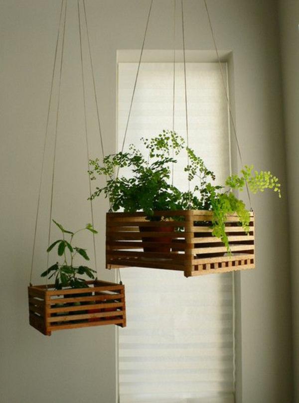hängende zimmerpflanzen holzkasten deko ideen