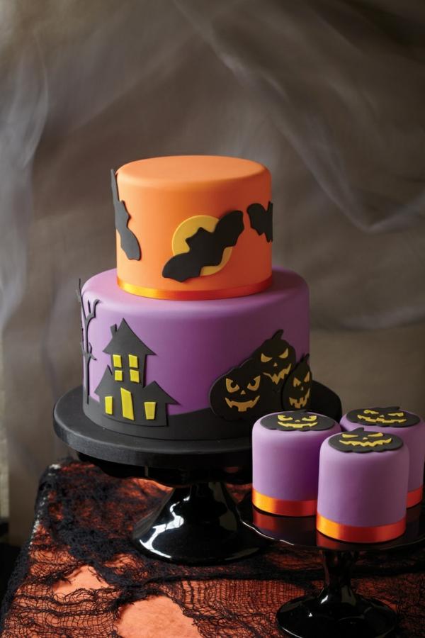 halloween essen gebäck torte kuchen fledermaus mond