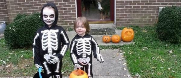 halloween kinderkostüme originell basteln skeleton