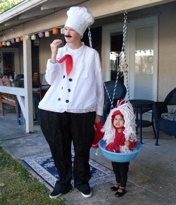 halloween kostüme familie spaghetti koch