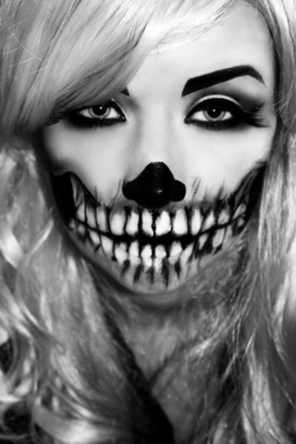 halloween schminke zombie ideen schminktips schwarz weiß
