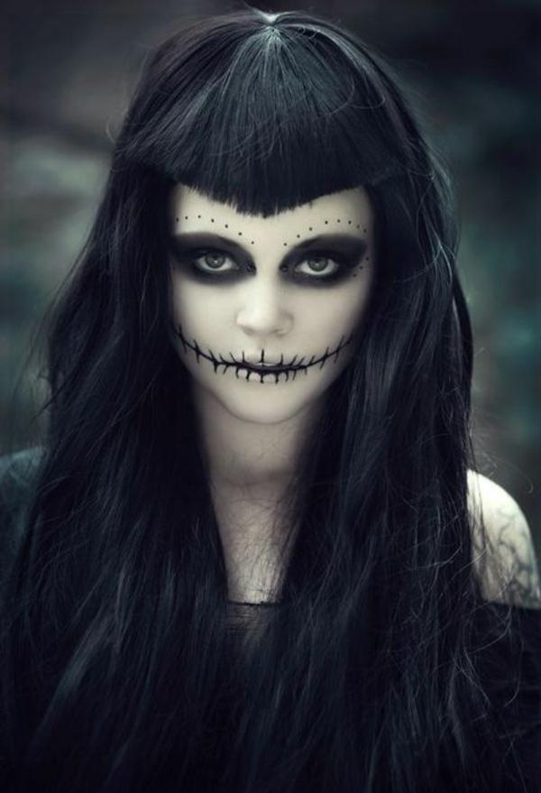 halloween schminken zombie schminktips frisur haarstyle ideen