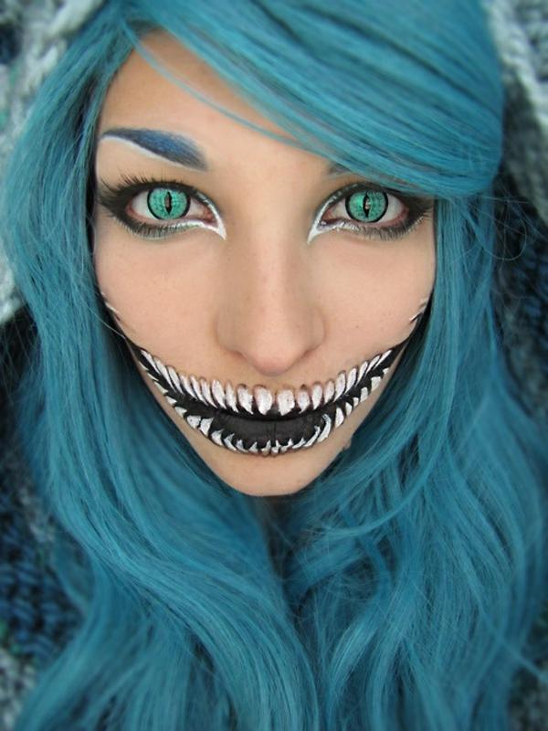 halloween schminken zombie schminktips schwarz weiß linsen perücke