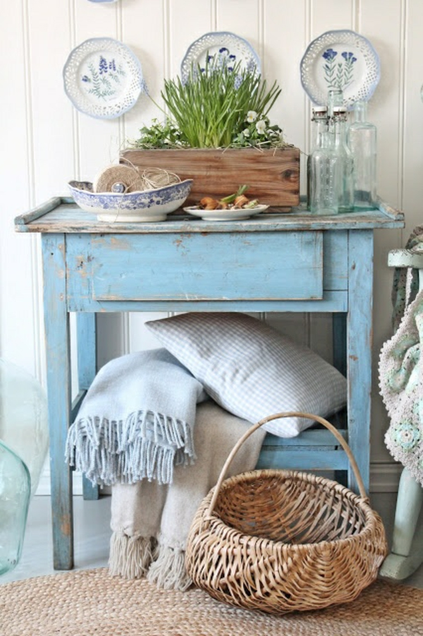 Holztisch Shabby Shic Möbel Vintage Einrichtungsideen Landhausstil
