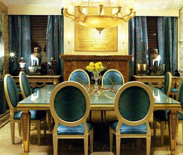 innendesign ideen ägyptischer stil farbakzente gold einrichtungsideen esszimmer