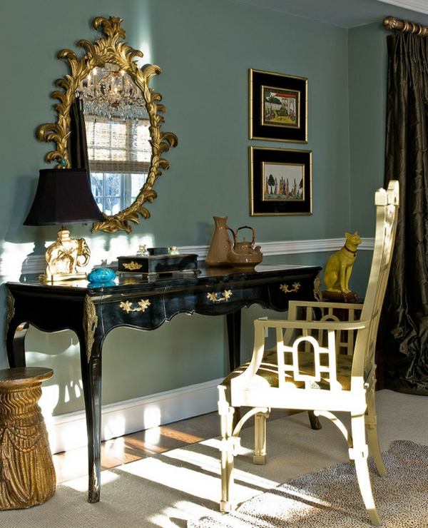 innendesign ideen ägyptischer stil farbakzente gold schwarz schminktisch dekoartikel