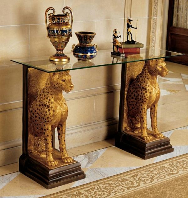 innendesign ideen ägyptischer stil farbakzente gold wohnideen beistelltisch dekoartikel