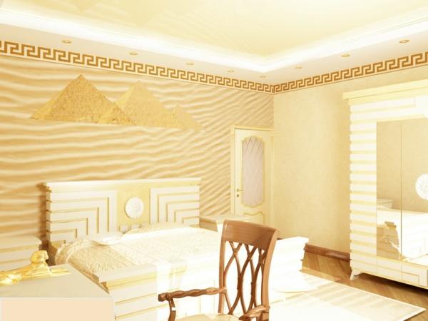 innendesign ideen ägyptischer stil farbakzente gold wohnideen schlafzimmer