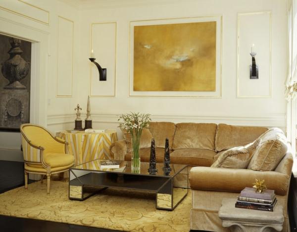 innendesign ideen ägyptischer stil farbakzente gold wohnzimmer sofa polstermöbel
