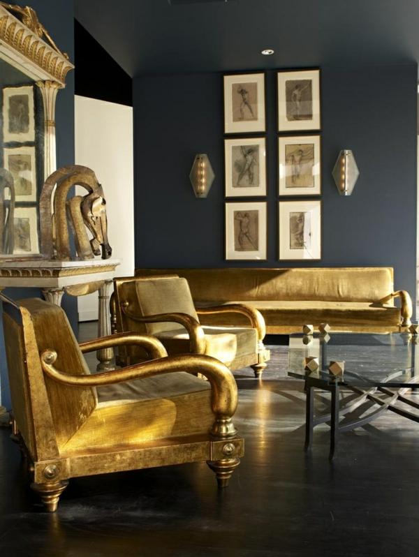 innendesign ideen ägyptischer stil farbakzente gold wohnzimmer wohnideen