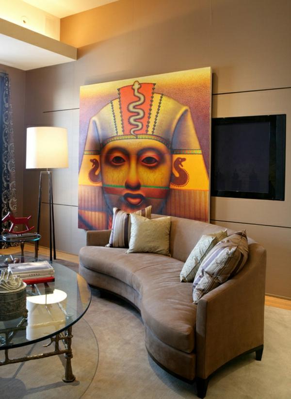 innendesign ideen ägyptischer stil farbakzente wanddeko ideen wohnwand