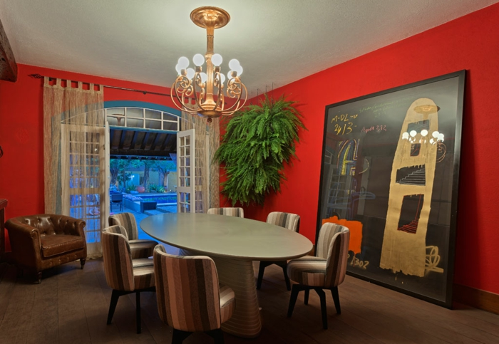 Schön Innendesign Ideen Esszimmer Gestalten Wandfarbe Rot Kreative Wandgestaltung