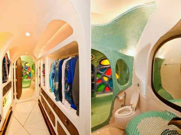 innendesign ideen stadtwohnung mumbai indien ankleidezimmer badezimmer mosaikfliesen