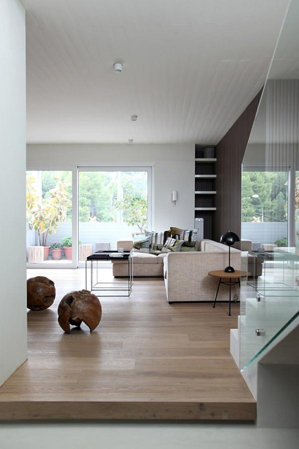 Wohnzimmer Zen Stil zwei niedrige Hocker Sitzecke Flur
