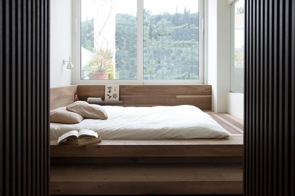 japanische einrichtung möbel weiß glanz  schlafzimmer