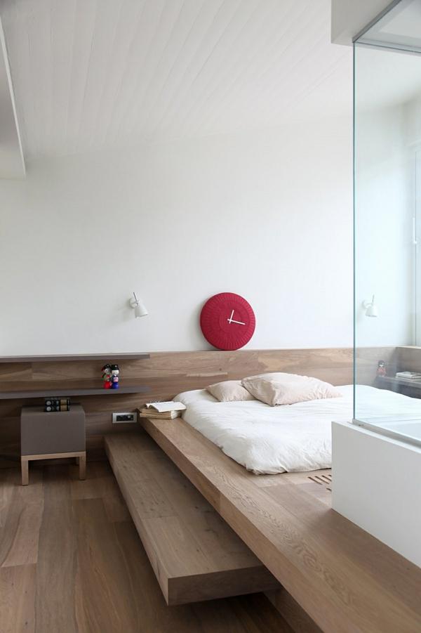 japanische einrichtung möbel weiß glanz tischlampe rot