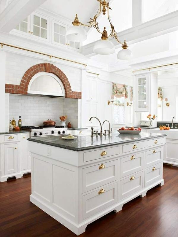 pendelleuchten Kochinsel einrichtungsideen weiße möbel