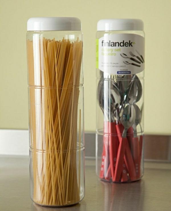 küchengestaltung ideen küchenideen ordnung pasta spaghetti aufbewahrungsbox besteck