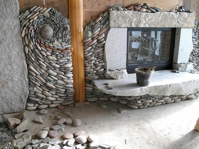 ... Steinwand Wohnzimmer Fernseher : Steinwand Mit Kamin : Eine Steinwand