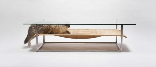 katzenmöbel glas tischplatte ergonomisch haustiere