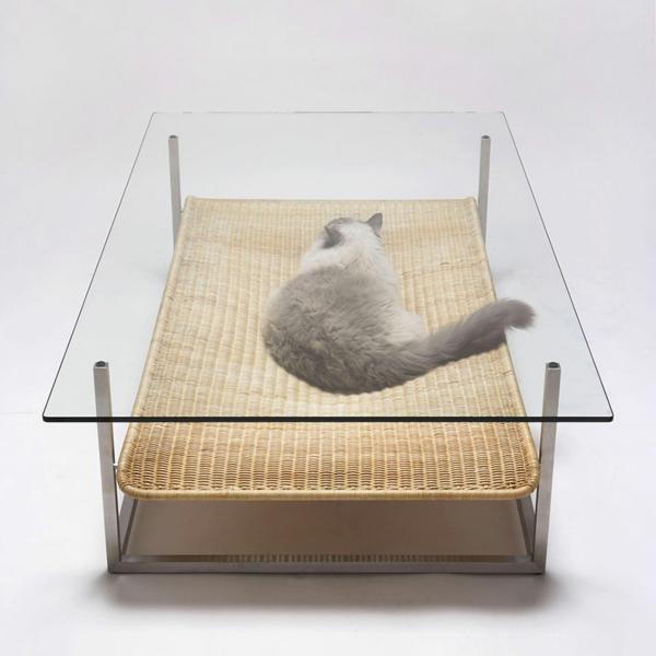 katzenmöbel holz design katzenbett couchtisch glas