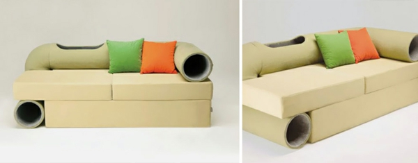 katzenmöbel kissen orange grün design sofa couch