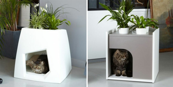 katzenmöbel blumentopf design versteck häuschen