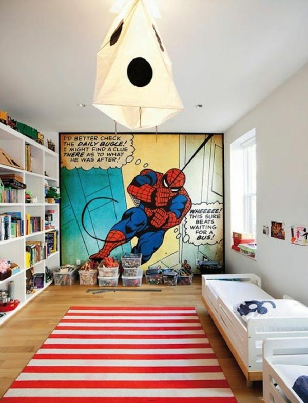 kinderzimmer gestalten bett läufer wandgestaltung spiderman comicbuch offenes wandregal