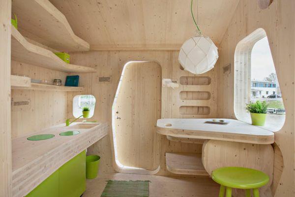 kleines holzhaus Studentenhaus Tengbom architekts wohnbereich küche holz