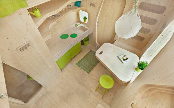 kleines holzhaus studentenwohnung tengbom architekts wohnbereich