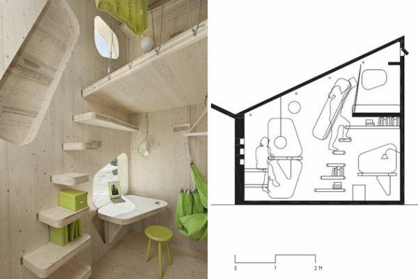 kleines holzhaus studentenwohnung tengbom architekts wohnplan
