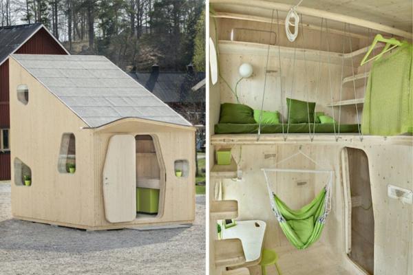 kleines holzhaus studentenwohnung wohnfläche kompakt hochbett