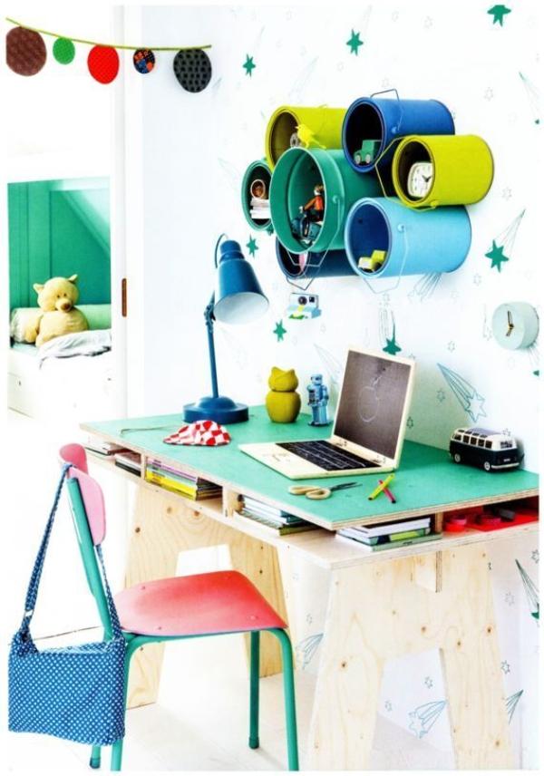 kreative wandgestaltung kinderzimmer gestalten farbdosen lernecke organisieren