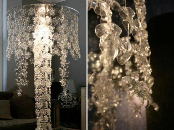 lampenschirm selber machen plastikflaschen boden ausschneiden