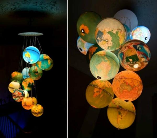 lampenschirm selber machen weltkugel alte globusse