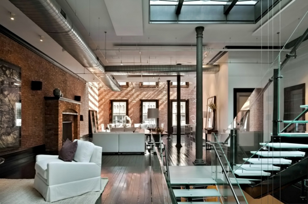 loftwohnung einrichten möbel treppe