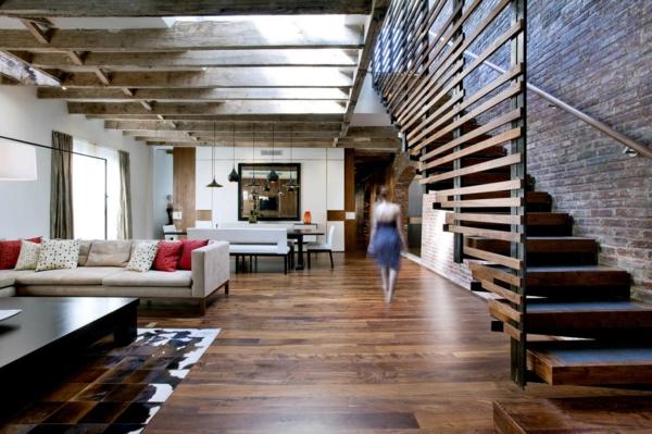 loftwohnung ziegelwand treppe großraum