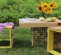 möbel aus paletten- holzbank und gabione-tisch im garten bauen, Garten und erstellen