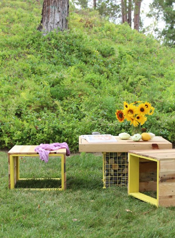 Gartenmobel Set Ratten : Möbel aus Paletten Holzbank und GabioneTisch im Garten bauen