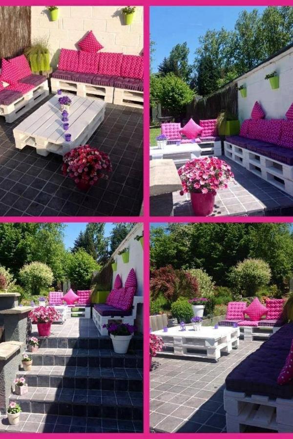 ideen basteln Holzmöbel aus Paletten rosa