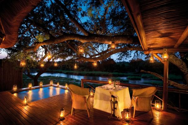 moderne architektur hotel afrika romantische beleuchtung