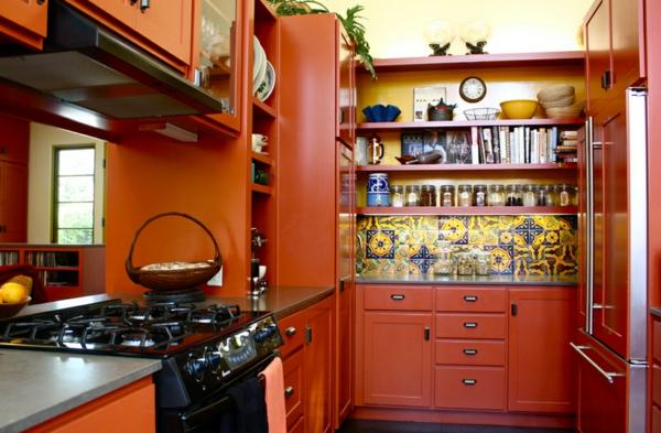 moderne einrichtungsideen küche mexikanischer stil orange küchenfronten