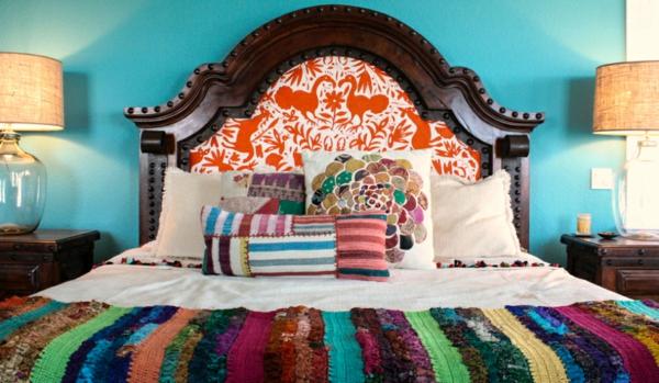 moderne einrichtungsideen möbel schlafzimmer mexikanischer stil wandfarbe türkis
